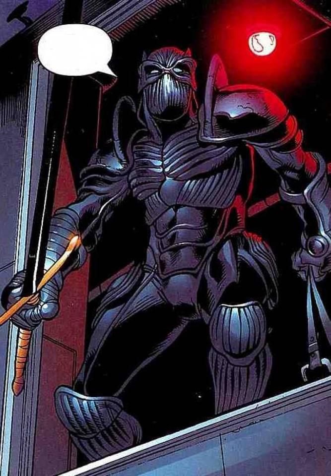 T'Challa in his Light Armor, wielding the Ebony Blade.