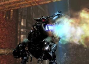 Grimlock in his dino mode in Rise of the Dark Spark