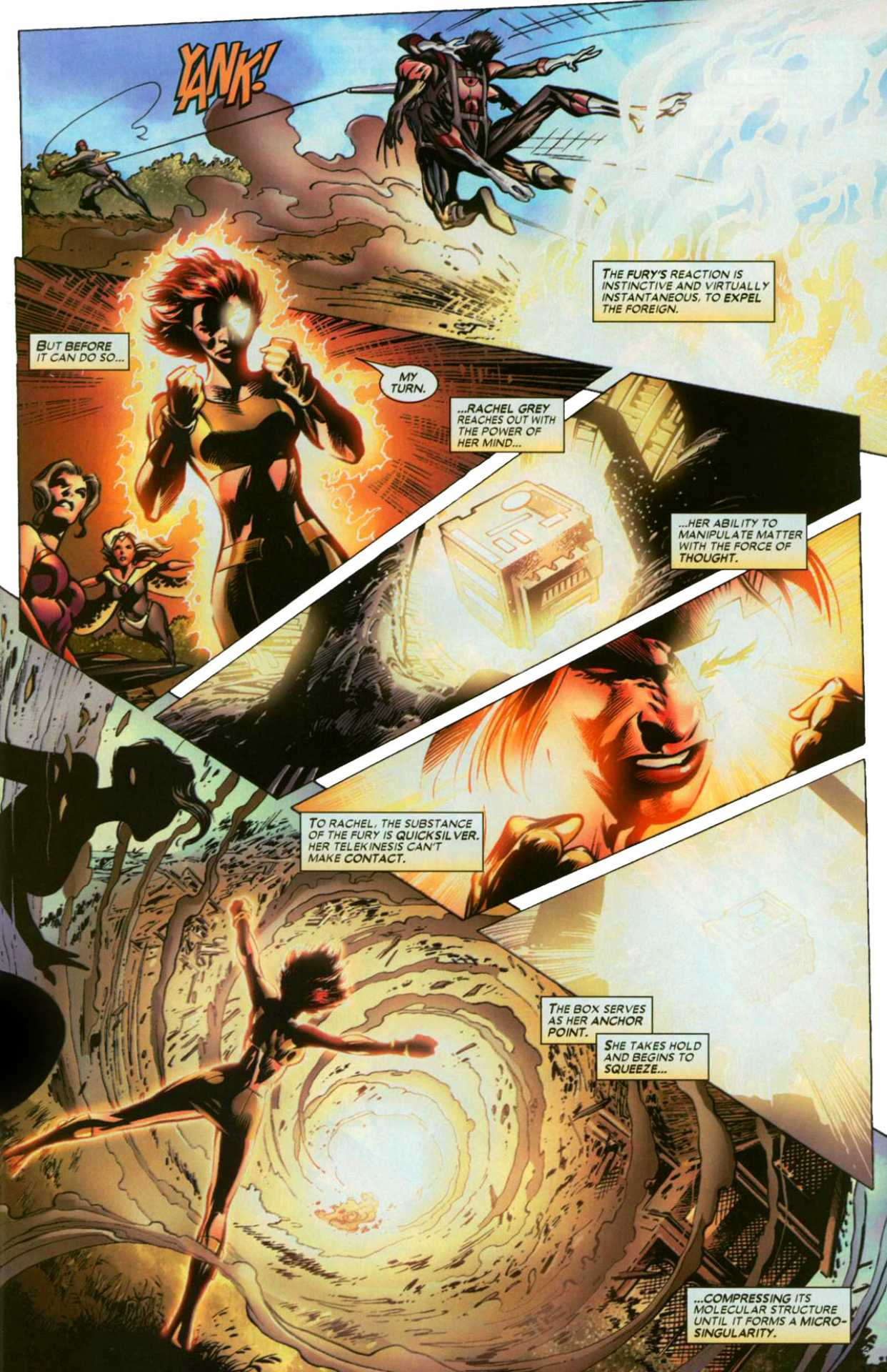 To contain the Fury and stop it from regenerating she crushes the molecules around it in order to create a micro blackhole. - Uncanny X-Men v1 #447