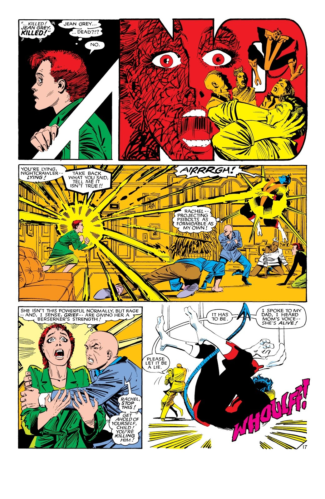Shortly after arriving in the 616 timeline a 16yr old enraged Rachel unleashes psi bolts on Xavier's level - Uncanny X-Men V1 #188
