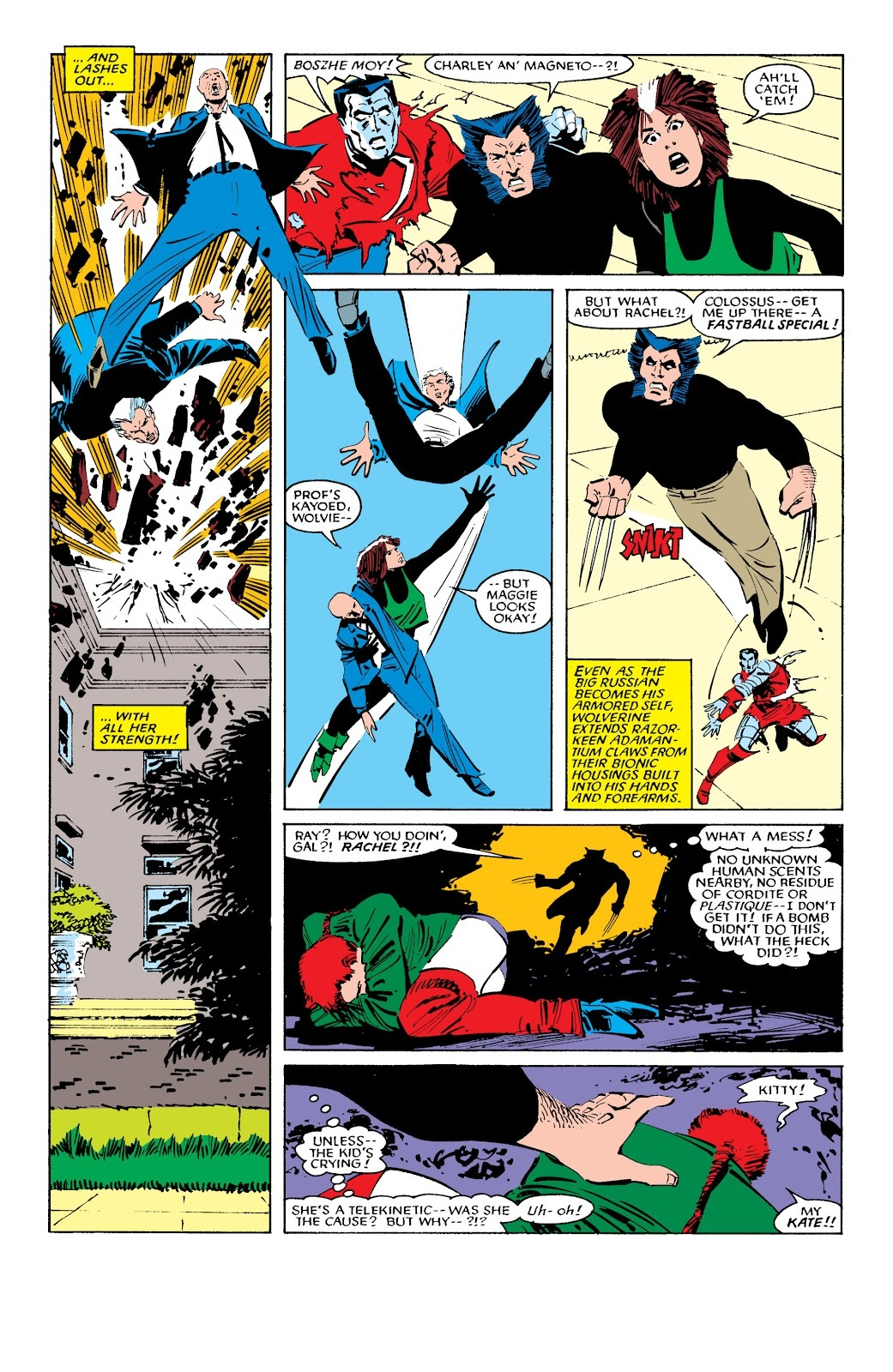 Young Rachel lashes out with TK after a psychic attack and destroy Xavier's office sending him and Magneto throught the roof and putting multiple holes in the room.