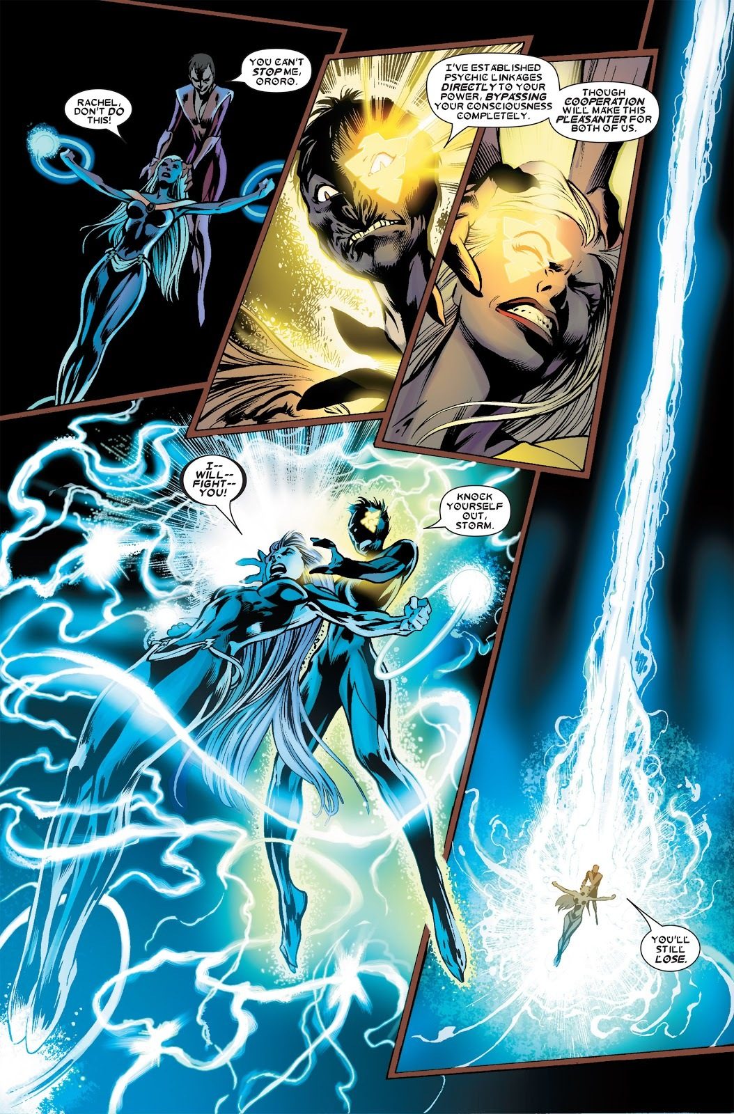 Bypasses Storm's consciousness and takes over her powers.