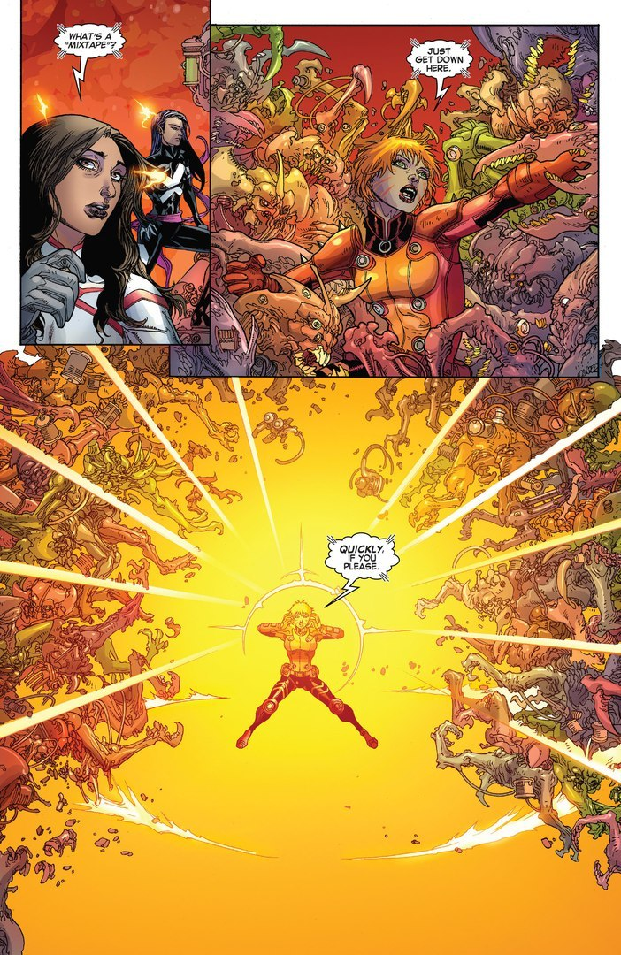 Mindblast a room filled with genetically engineered Aliens from the most dangerous species in the universe while talking to her teammates - X-Men v3 #20