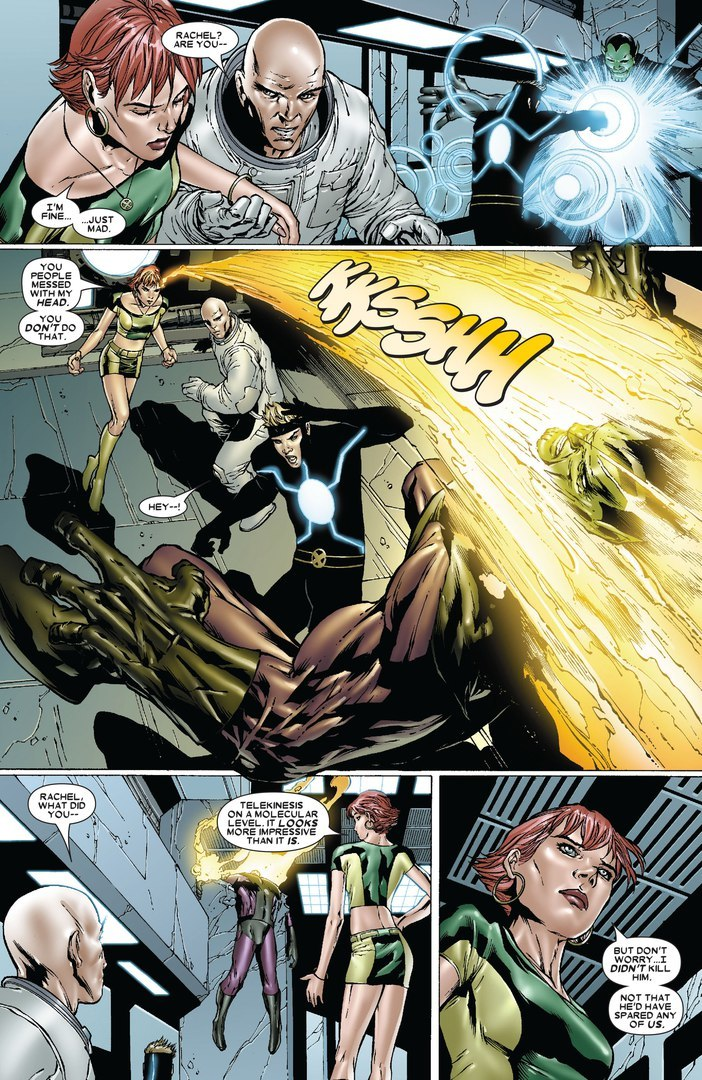 Uses molecular level telekinesis to defeat a Warskrull in a single shot. Previously Havok couldn't damage it.