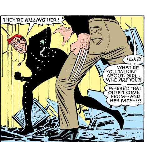 Senses Kitty being attacked and subconsciously changes from her street clothes to her Hound uniform for the first time. - Uncanny X-Men v1#196