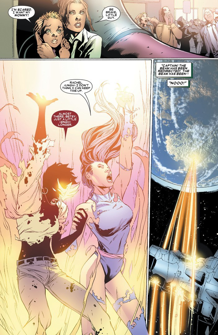 Links TK with Psylocke's in order shield Chicago from a Shiar orbital strike. They then reflect the energy beam back into orbit to destroy the ship.