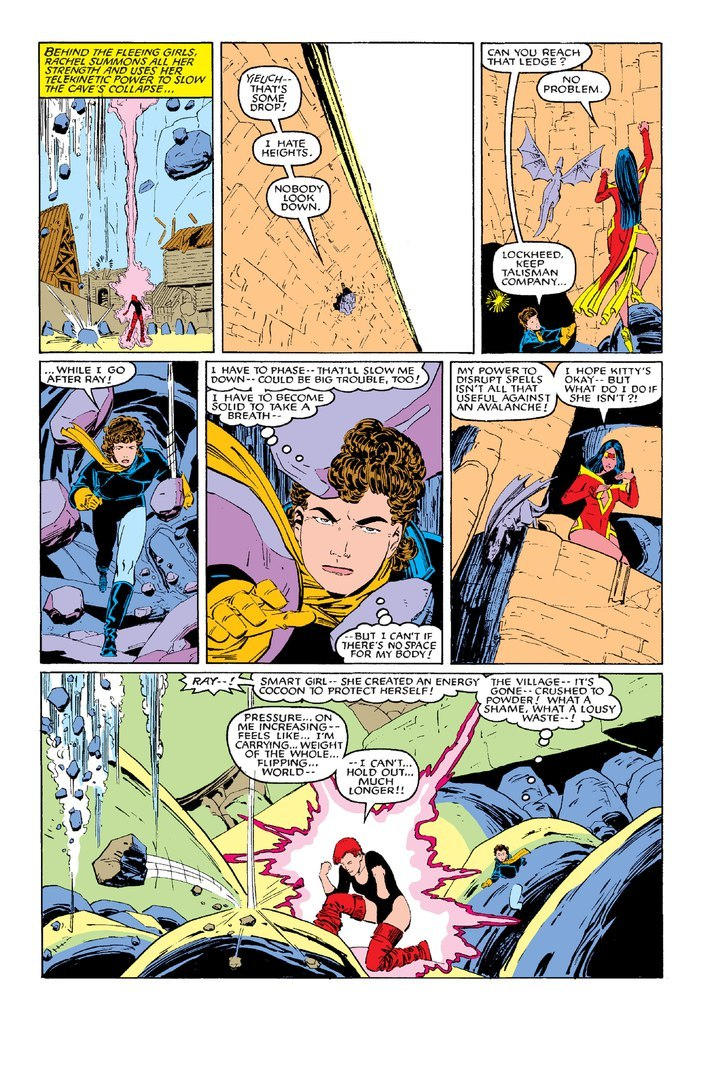 Supports the weight of a cave-in that destroyed an underground village - X-Men/Alpha Flight (1985) #2
