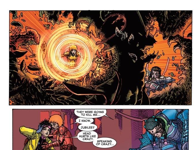 Uses Telekinesis to rip apart aliens attacking Jubilee
