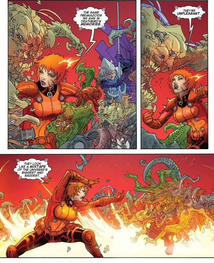 Pushes aliens back with Tk wall. - X-Men v4 #21