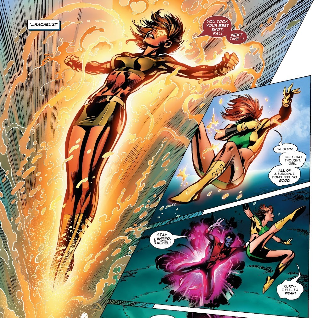 Is hit by the Fury and sent flying over 250 miles, from Braddock Manor in Maldon, England to the Irish Sea. Psi Shield allows her to survive although dazed. - Uncanny X-Men v1 445