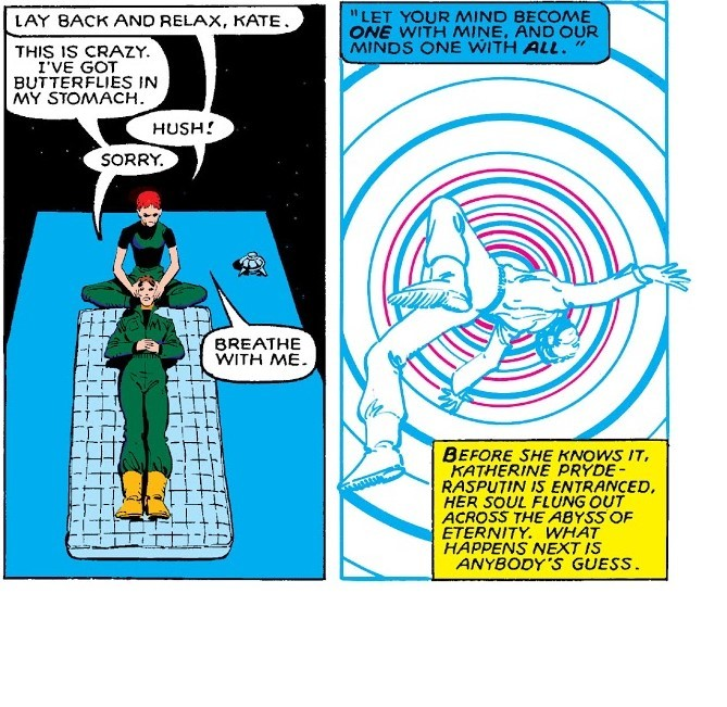 Sends Adult DoFP Kitty's mind back in time to 14 year old 616 Kitty Pryde's body