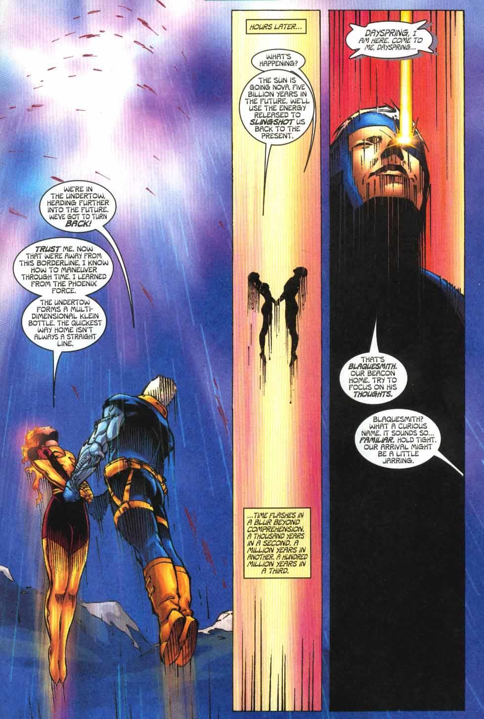 Travels from 2 billion years in the future back to the Present by going further into the future first. (Despite the costume and flaming hair, it's explained that she has lost the Phoenix at this point.) - Cable v1 #86