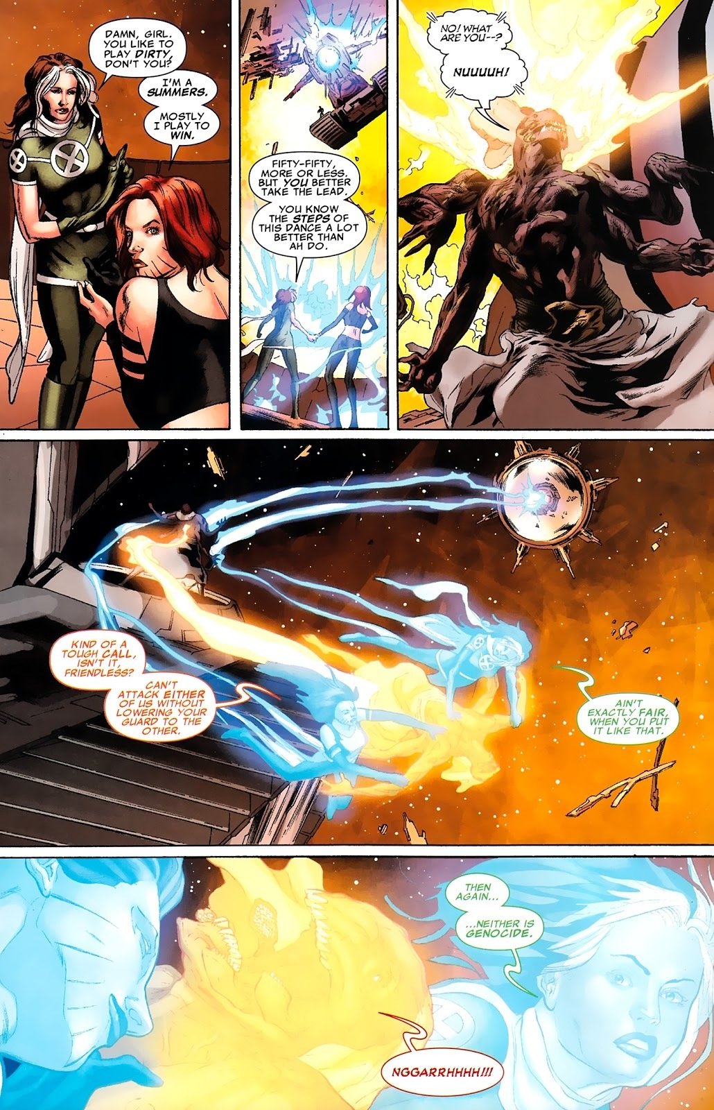 After splitting her powers with Rogue, is able to pull Friendless (a stronger telepath mindcontrolling the armies of a space station housing 2 billion people) onto the astral plane and force him to function as a supercomputer to make calculations. -X-Men Legacy V1 #258