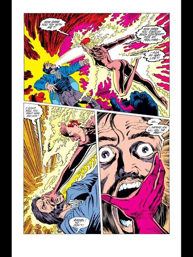Steals back the Phoenix power Mastermind was given and leaves him in a coma. - Excalibur v1 #26