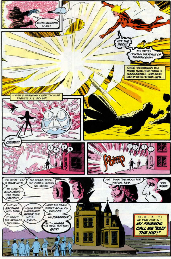 Shields Excalibur from a mini nuke before being teleported away by a device feeding on her powers - Excalibur v1 #11