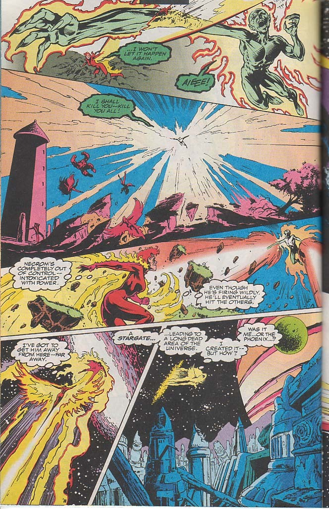 Opens a Stargate during her fight with Necron (who is in control of a dark version of the Phoenix Force) to a dead part of the Universe.