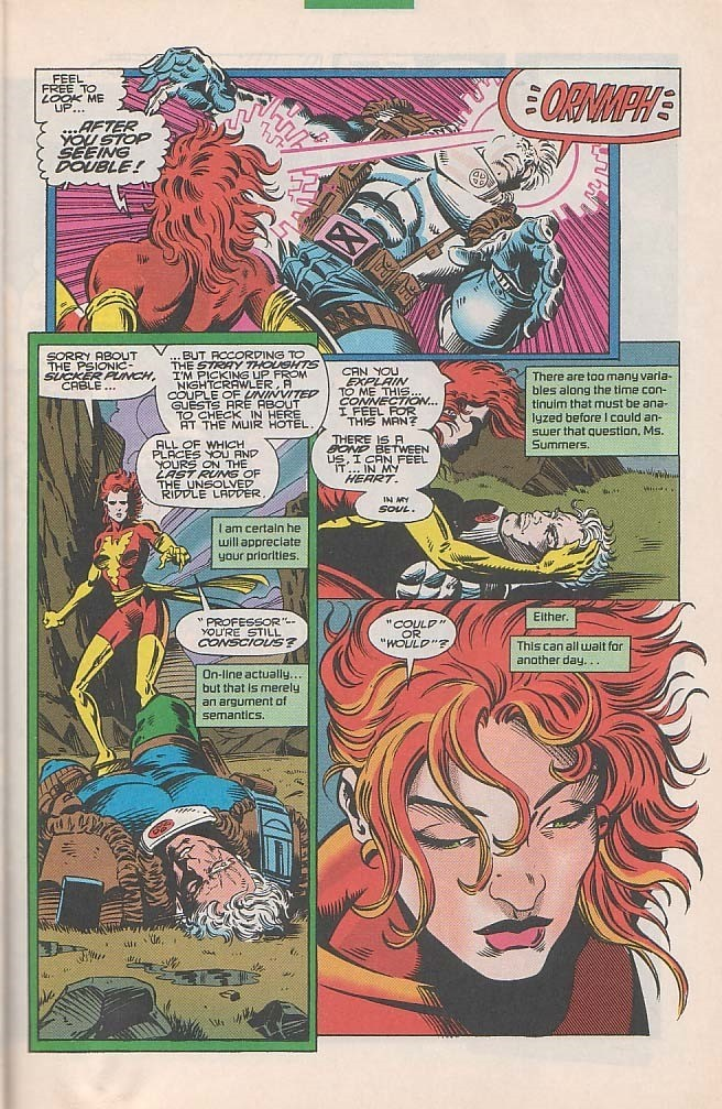 KO's Cable with a Psiblast despite his defenses and senses their connection. - Excalibur v1 #71