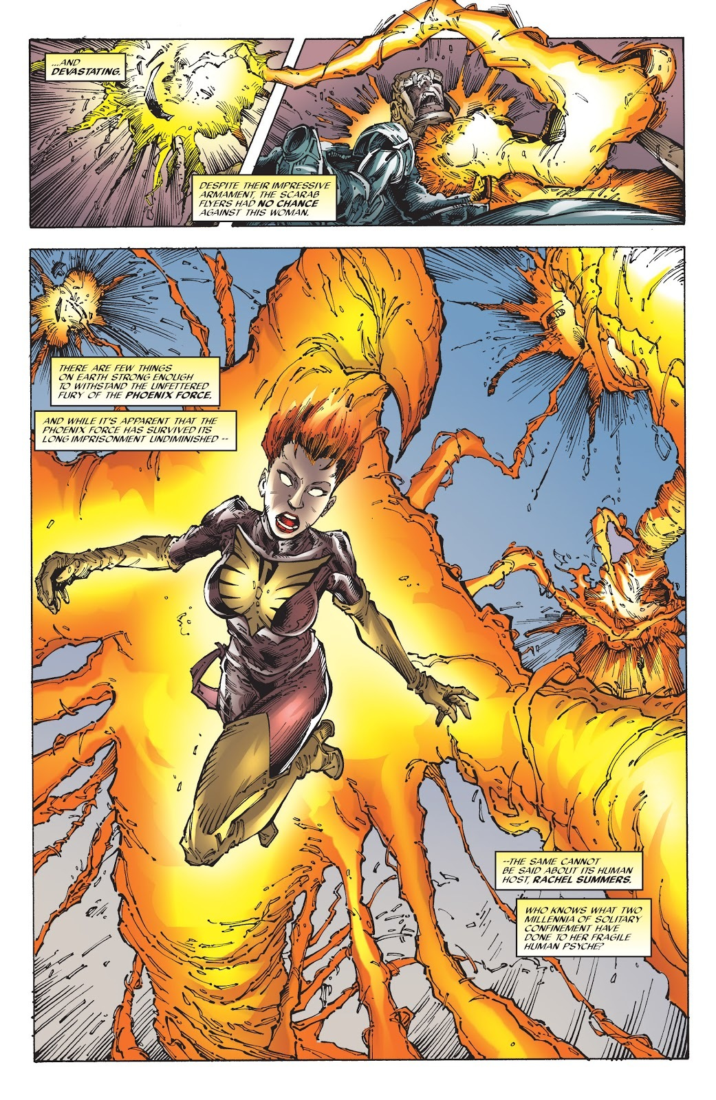 After using her powers to switch places with a time lost Captain Britain, Rachel emerges 2000 years in the future and immediately destroys a group of Apocalypse' soldiers