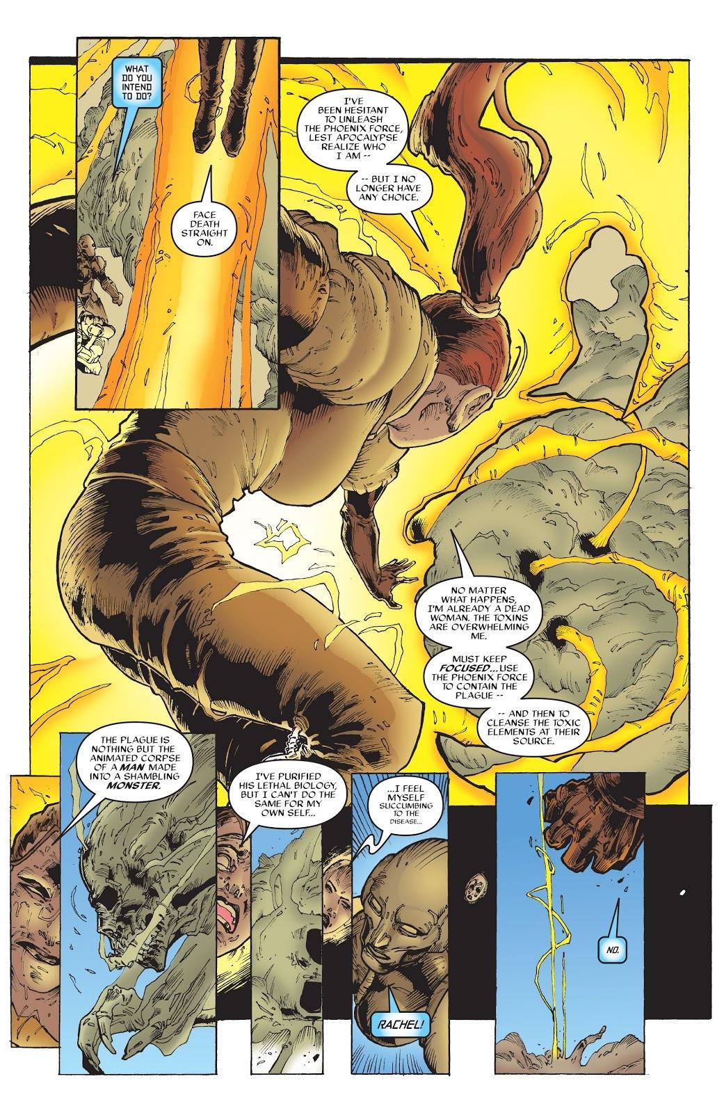 The Plague, a mutant who releases a poisonous disease is purified by Rachel - X-Men Phoenix #3