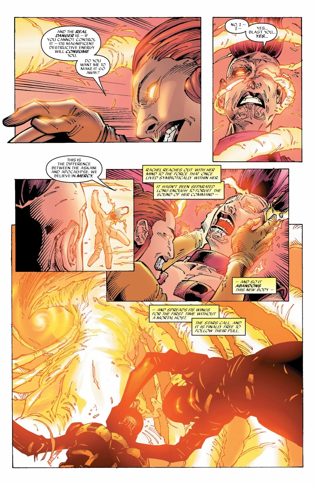While fighting Nero (Apocalypse's second in command and power stealing vampire) Rachel has a vision of the future and sends all of the Phoenix Force into Nero and overloads her before Rachel saves her by setting the Phoenix Force free.