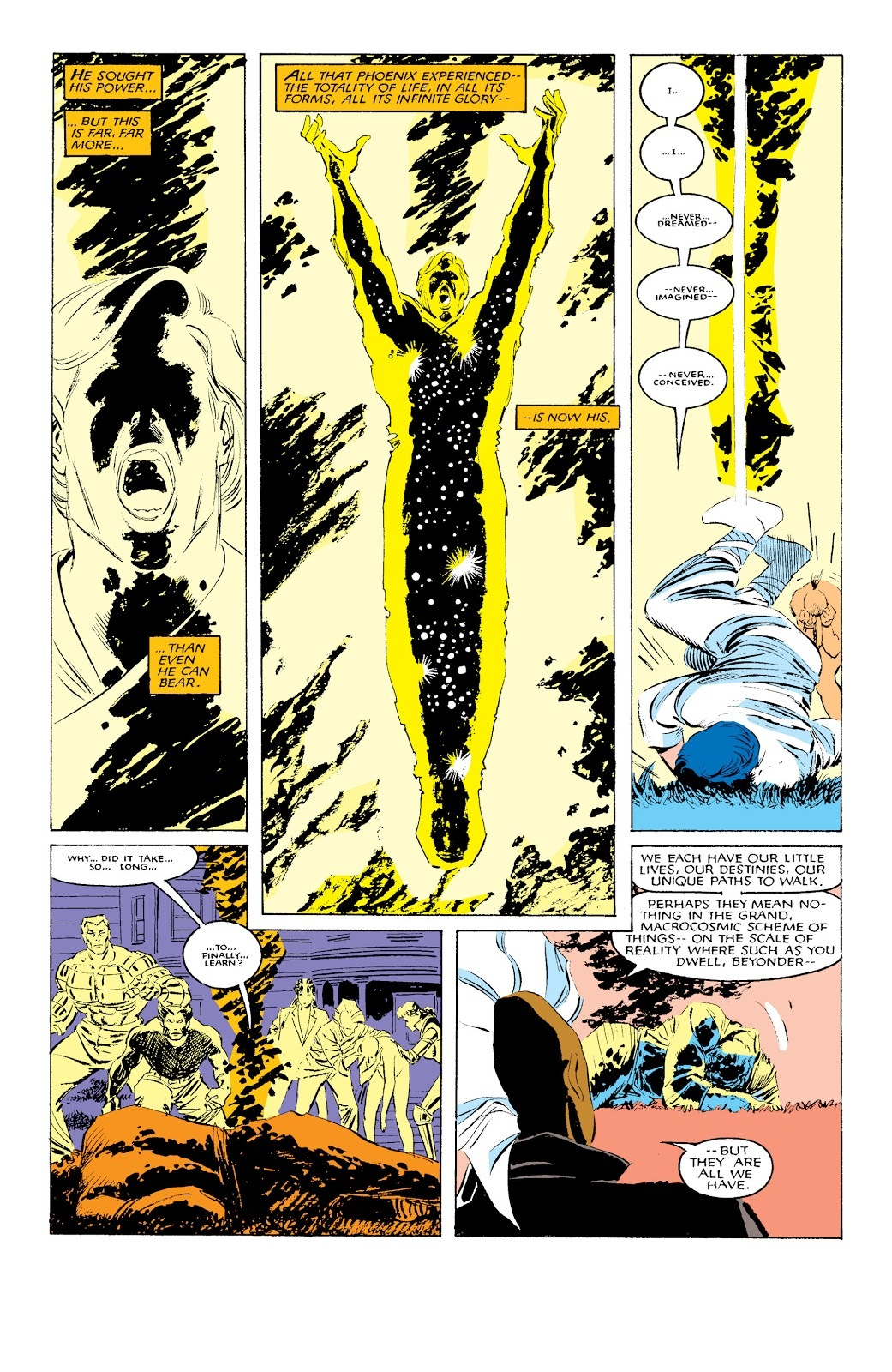 The Beyonder attempts to retake the powers he gave to Rachel but is overwhelmed by her.