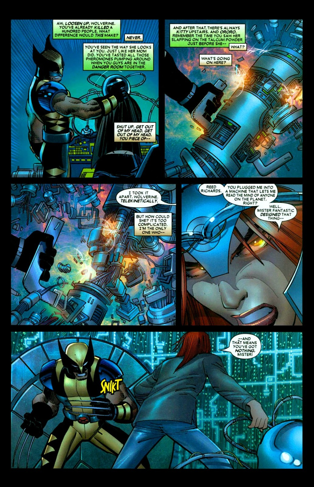 After reading Reed Richard's mind, She telekinetically dismantles a Terraforming device Wolverine was using as a bomb.