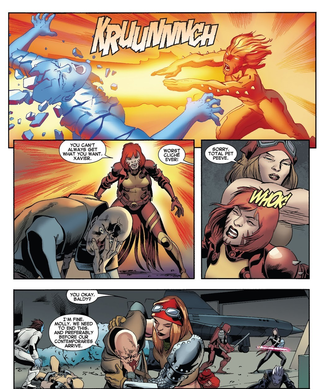 Charles Xavier Jr, a telepath capable of dominating multiple telepaths, while producing Psionic Constructs, controlling his teammates and combatting Teenage Jean Grey is overwhelmed by Rachel in one shot during Astral combat