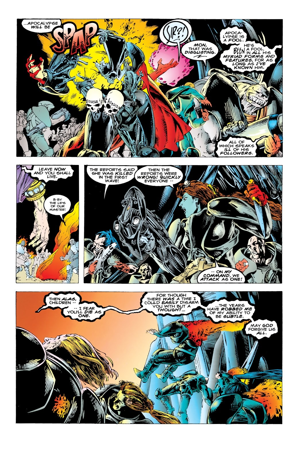 Despite suffering a massive wound from a surprise attack, Mother Askani utterly destroys Apocalypse's elite forces with a wave of her hand.