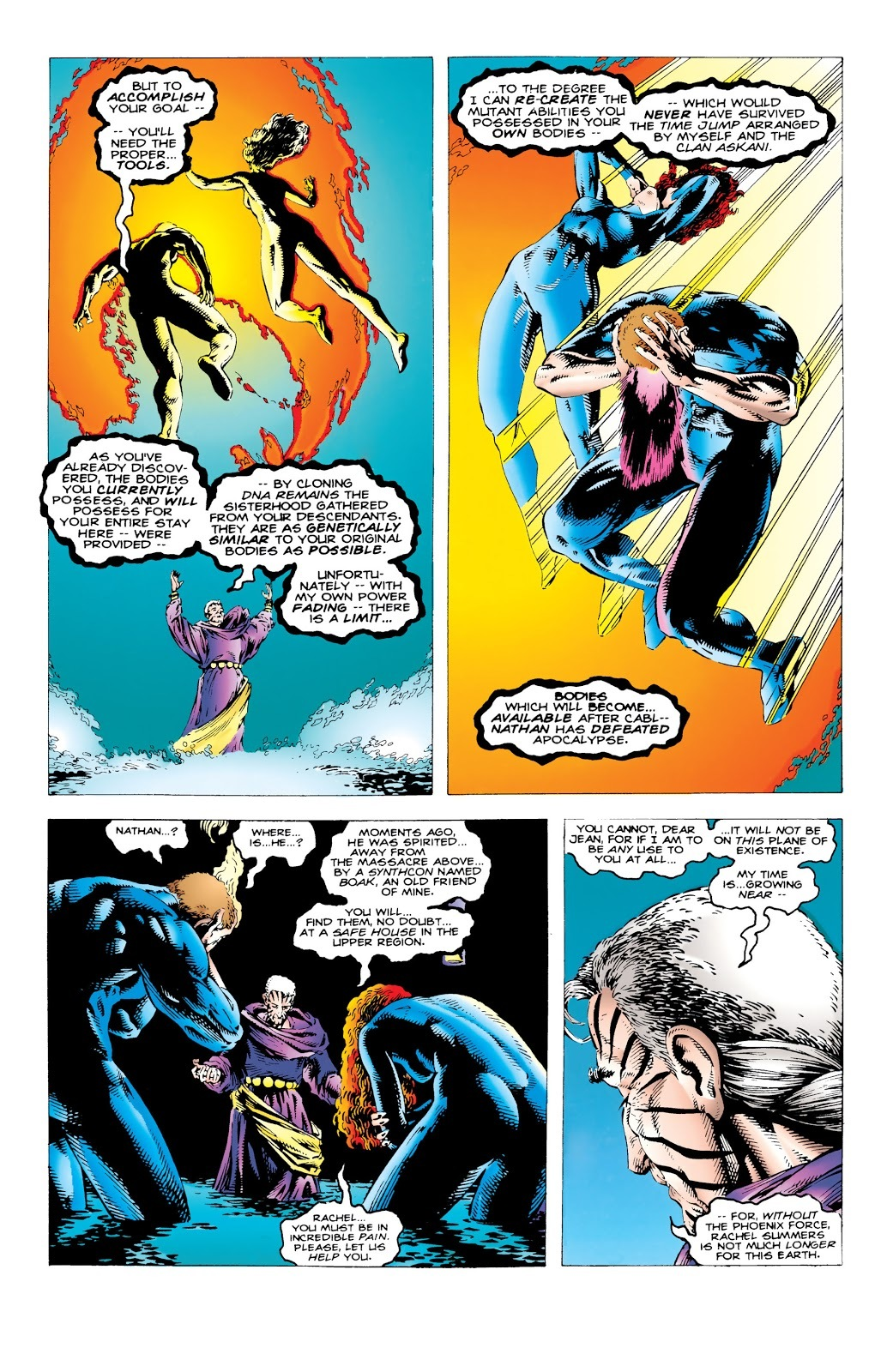 Uses the last traces of the Phoenix in her to turn Scott and Jean's human bodies into mutants.