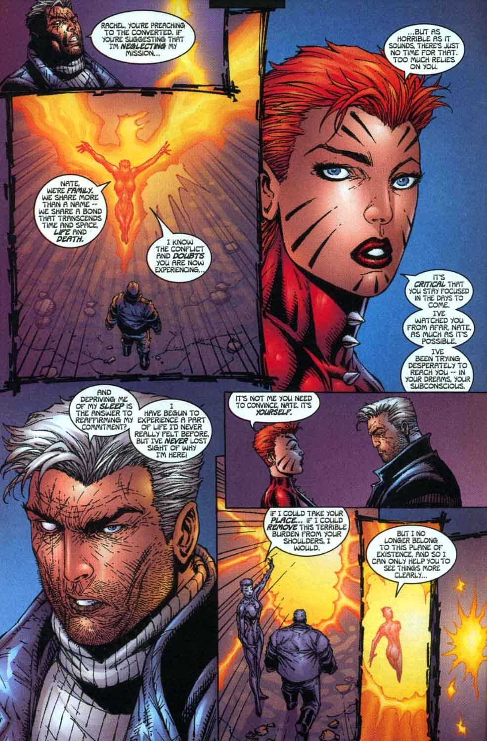 Tells Cable she can't help him because she no longer belongs to the same plane of existence