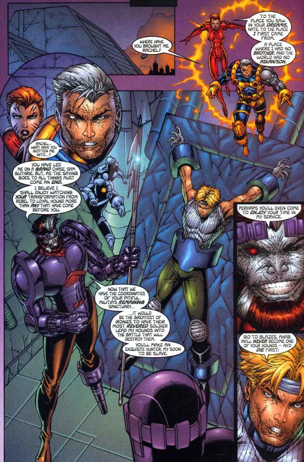 Pulls Cable through time and space to the Days of Future past timeline so that he can see how the alternate version of X-Force died and steel his resolve for the coming fight.