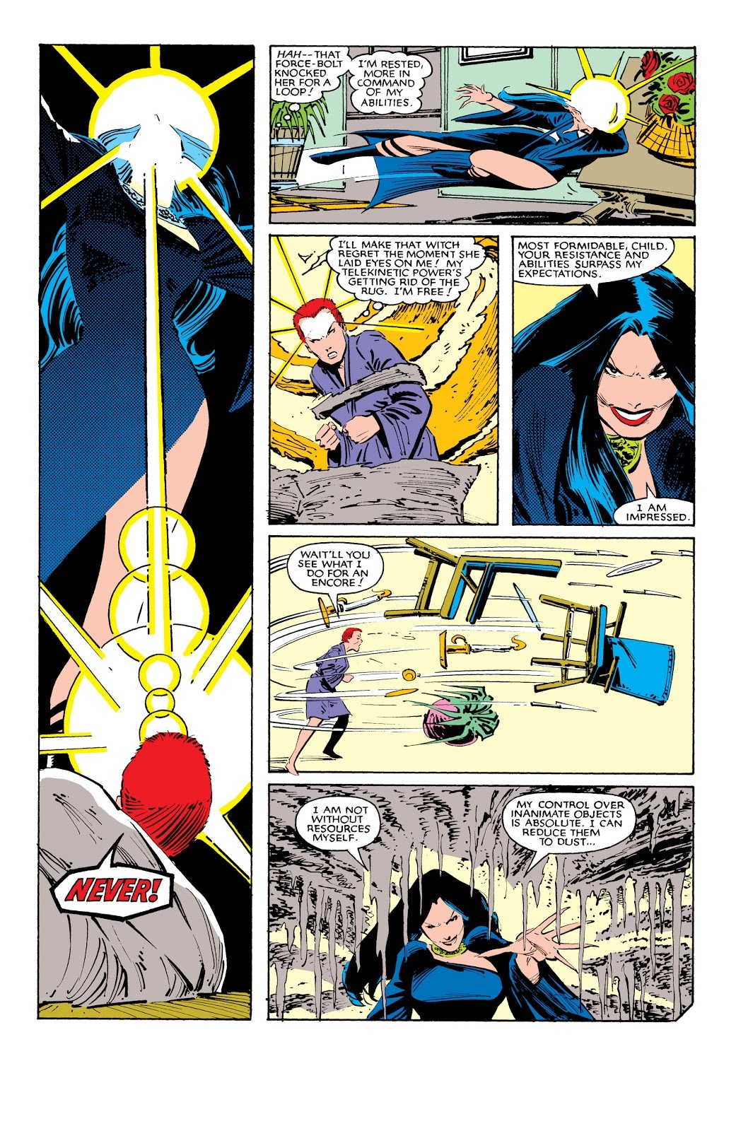 Resist Selenes mind control and Psibolts Selene into a wall- Uncanny X-Men #184