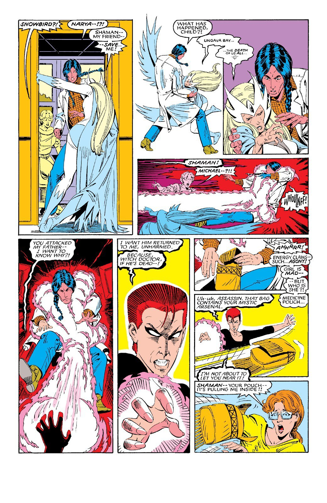 After Snowbird runs in fear of her a rage amped Rachel attacks Alpha Flight, restraining Shaman and turning his medicine pack against them