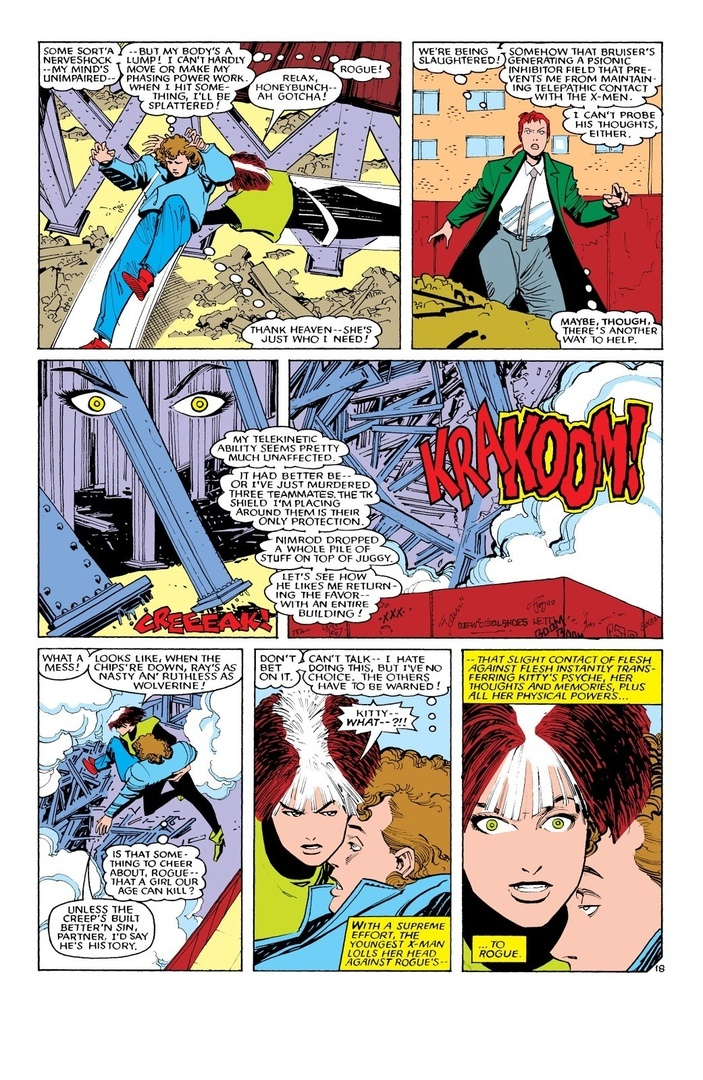 Collapses a construction building on top of the X-Men, Nimrod and Juggernaut while shielding the X-Men from the debris