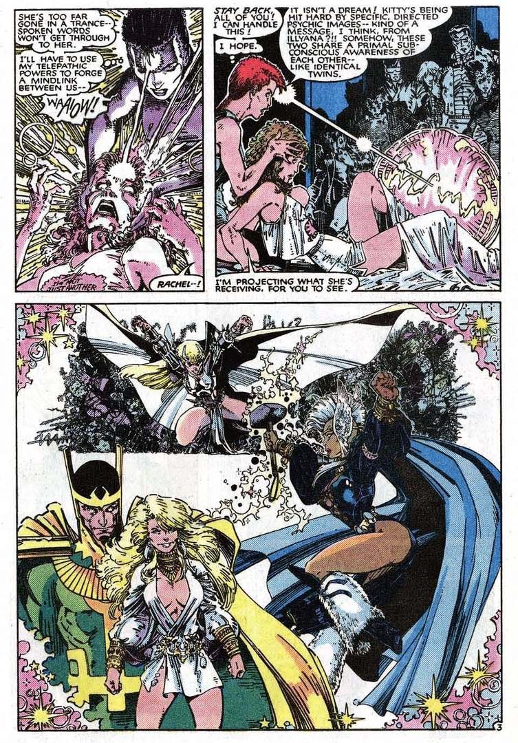 Translates and Projects a mental message that Kitty was receiving from Magik - Uncanny X-Men #195