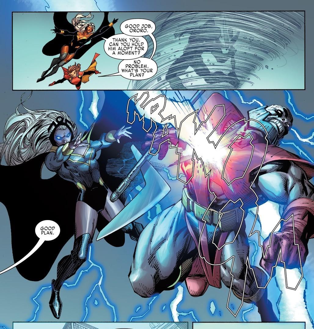 Restrains Terrax so that Storm and attack him-X-Men Gold V2 #1
