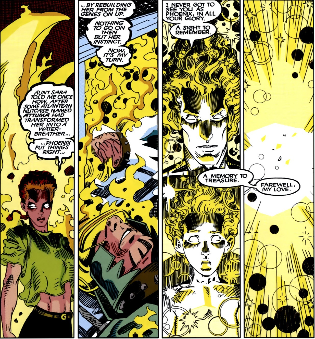 Reconstructs Cyclops and Sue Storm on a genetic level after Ahab had their genes and minds altered and twisted into hounds using instinct and a story she once heard about Jean- Days of Future Present