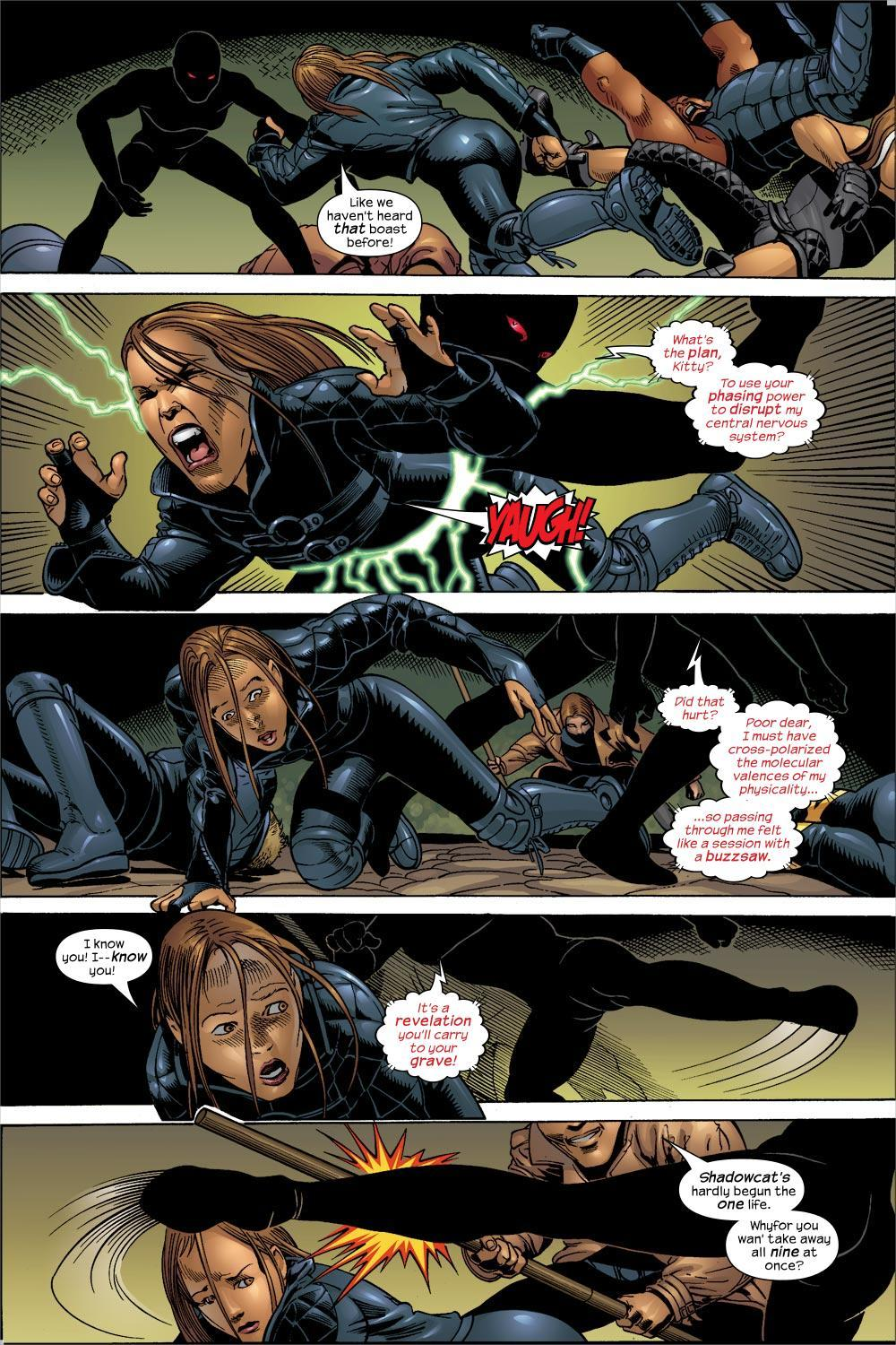 While corrupted by Bogan, Rachel cross polarized her molecular valences to disrupt Kitty's phasing - X-Treme X-Men V1 #44