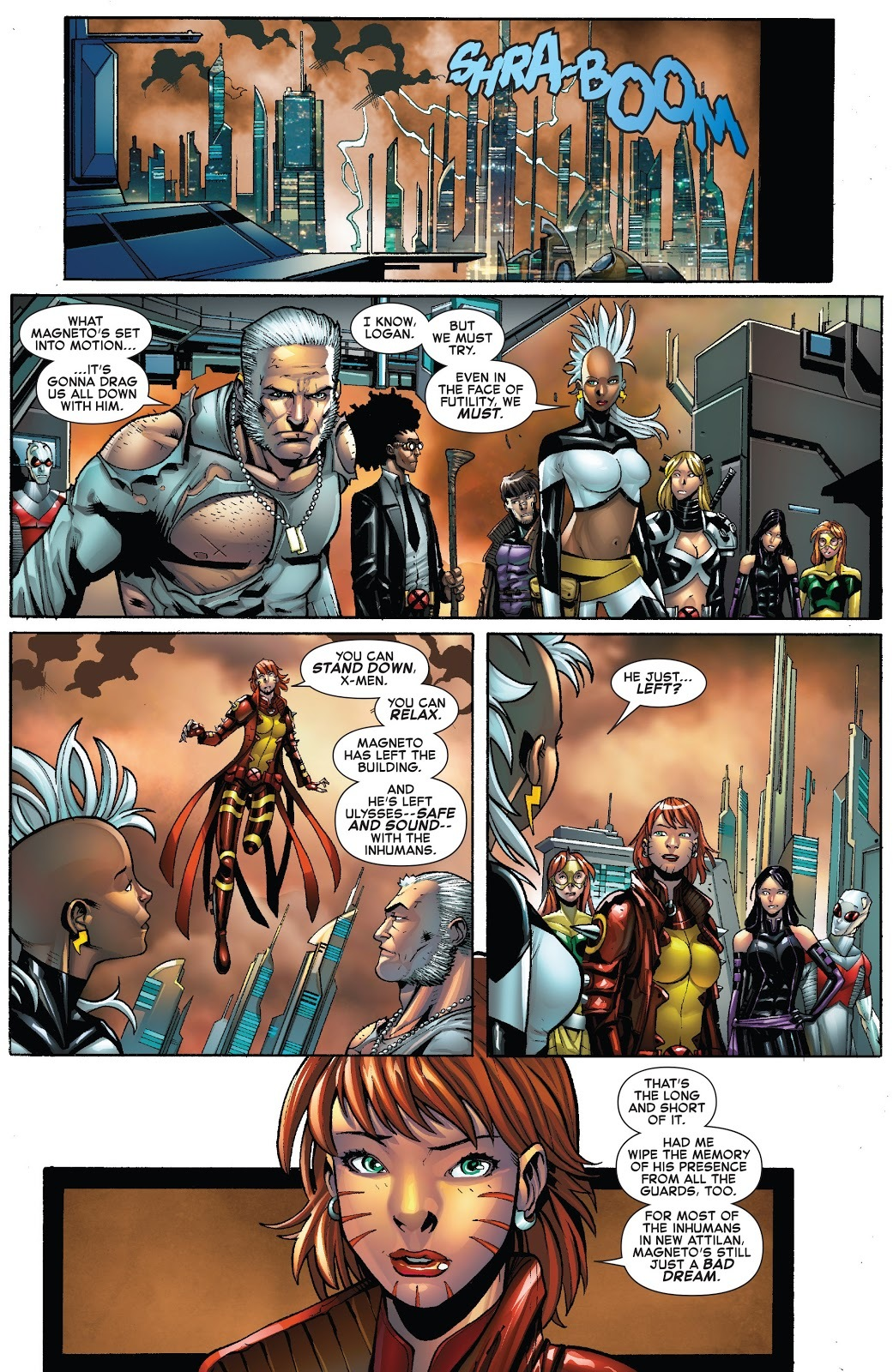 Mindwipes the New Attilan guards of her and Magneto's attack - Civil War 2 X-Men issue 4