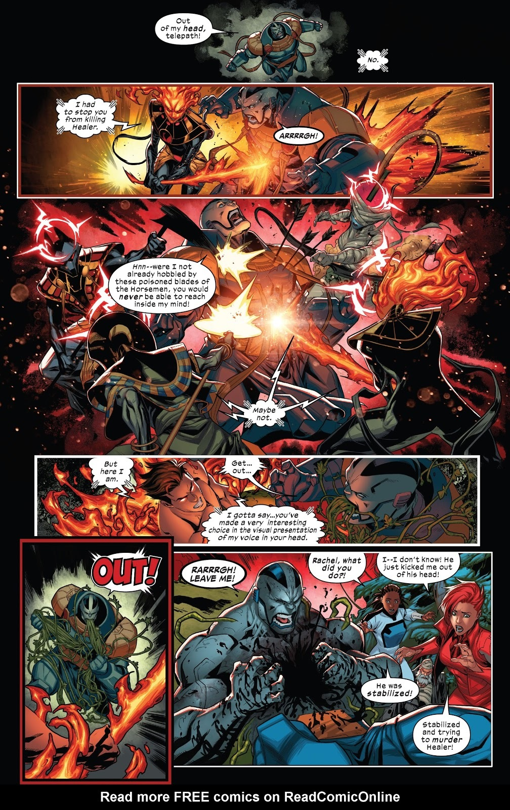 Breaks into the mind of an injured Apocalypse in order to restrain him, forcing him to rip open his own chest to get her out of his head - X of Swords part 2, X-Factor #4
