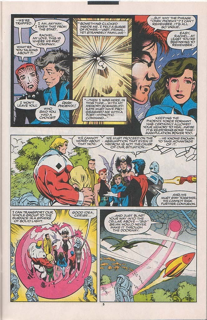 With the Phoenix Force suppressed for an extended period Rachel's time manipulation powers begin reemerging including her 4th dimensional pulse that prevents temporal and reality manipulation from effecting her.