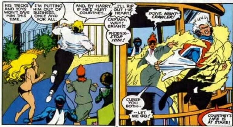 Restrains Captain Britain against his will - Excalibur v1 #4