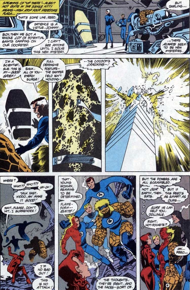 While awakening from her cocoon Rachel pverloads and destroys the stasis fields of an alternate Reed Richards, destroying the top floors of the Baxter building in the process. - Excalibur v1 #14