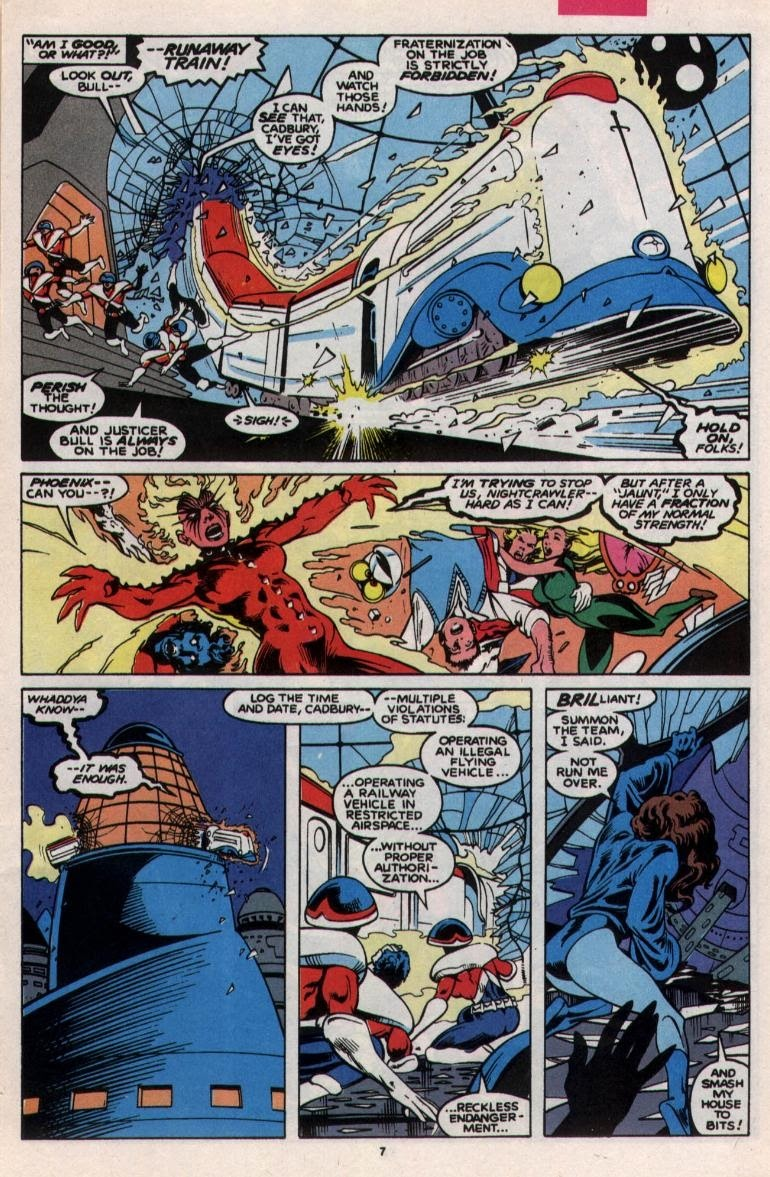 Stops Excalibur's train from falling out of a building after it enters a new reality despite having her energy drained by Widget whenever Excalibur crosses realities- Excalibur v1 #23