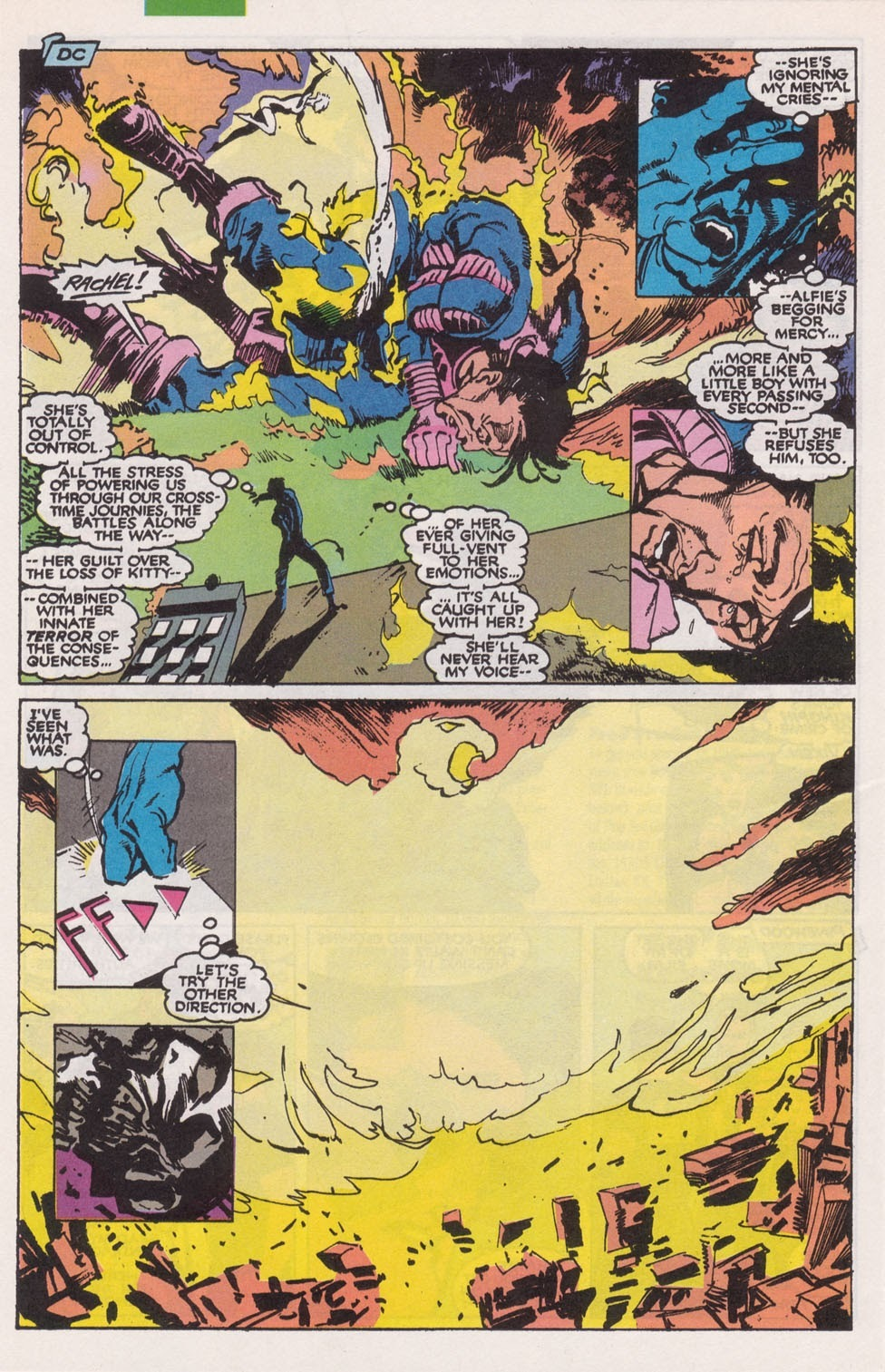 Nearly kills the reality warper Alfie Omeagan and destroys all of his universes Washington DC before the universe is erased and she is returned home - Excalibur v1 #27