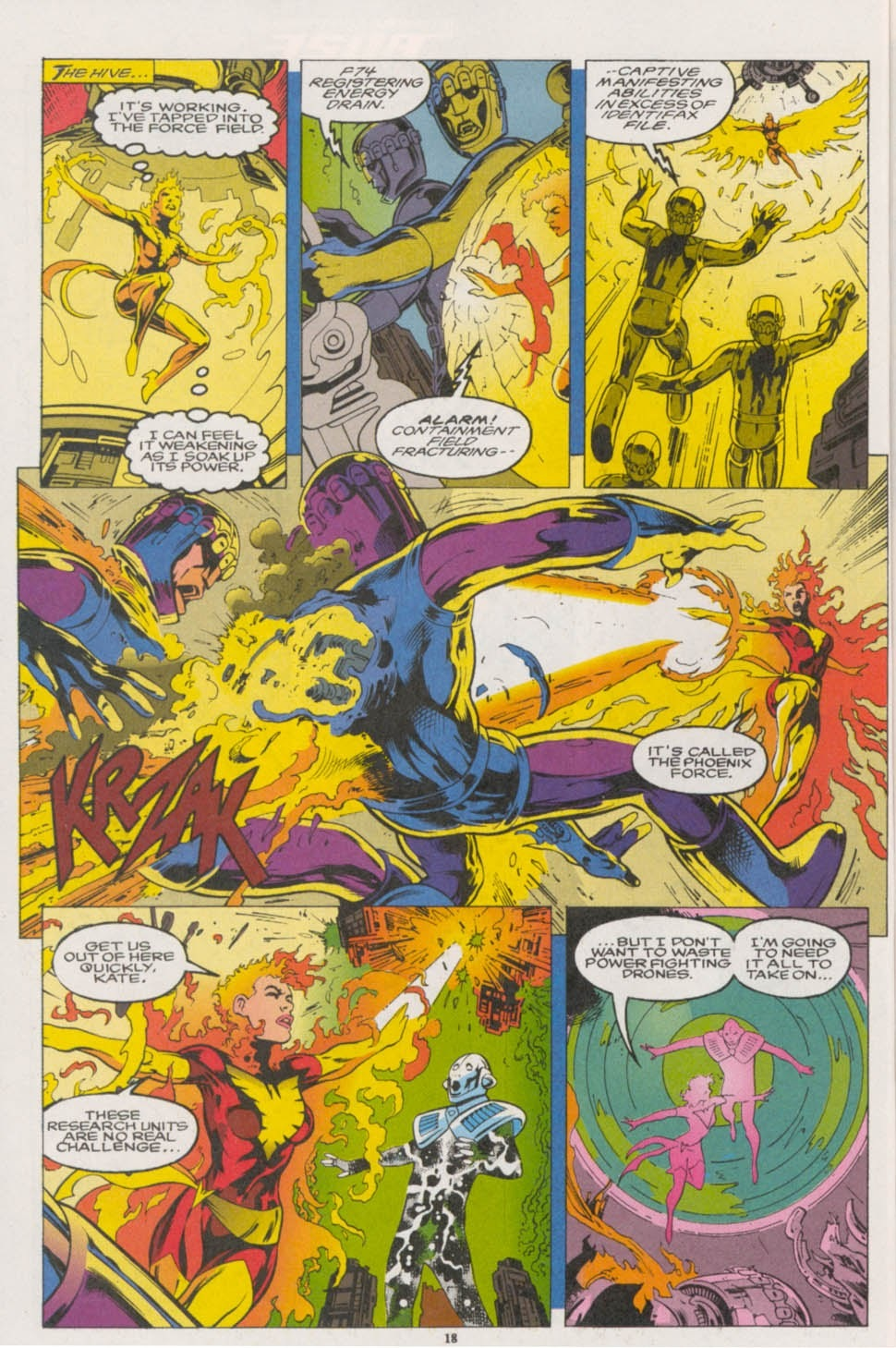 Drains powers from the Days of Future Past Sentinels containment field in order to escape - Excalibur v1 #67