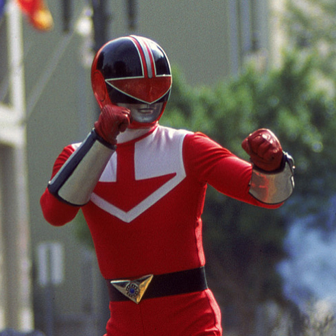Wesley as the Red Time Force Ranger