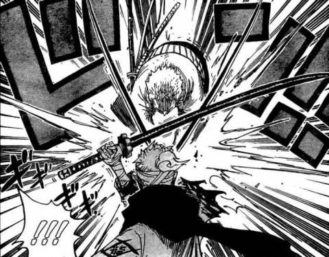 Zoro and Ryuuma's blade lock