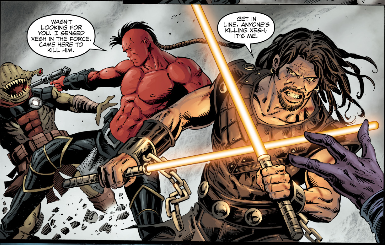 Lok utilizing two Force sabers.