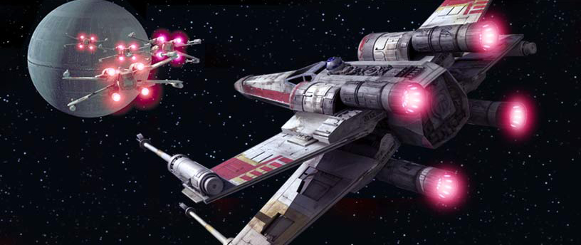 Rebel pilots in their X-Wing starfighters attacking the Death Star.